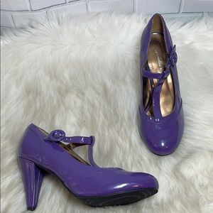 Gabrielle Rocha Cynthia Purple T Strap Heel Sz 8.5